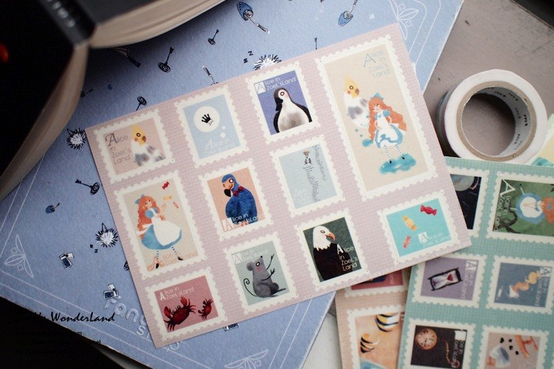 Fake stamps and paper sticker*loop race with a long tail*Alice in Wonderland Chapter III
