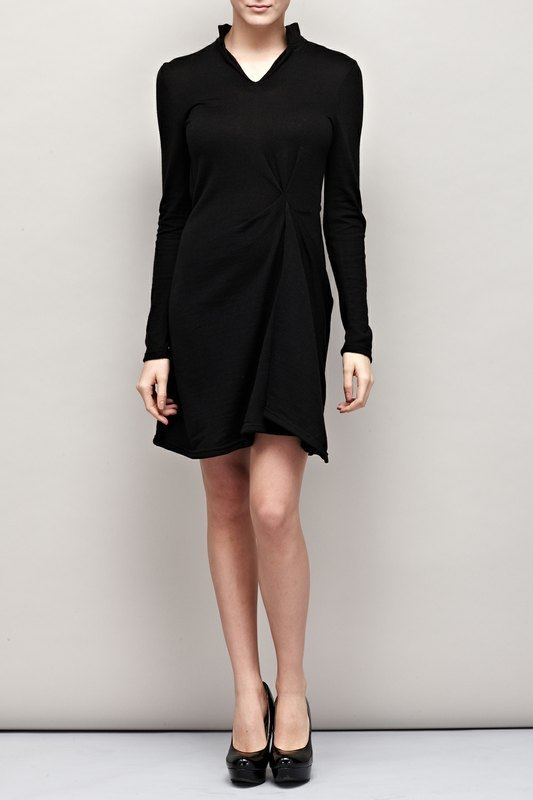 Rough cut pleated neckline knit dress Asymmetric Drapping Sweater Dress