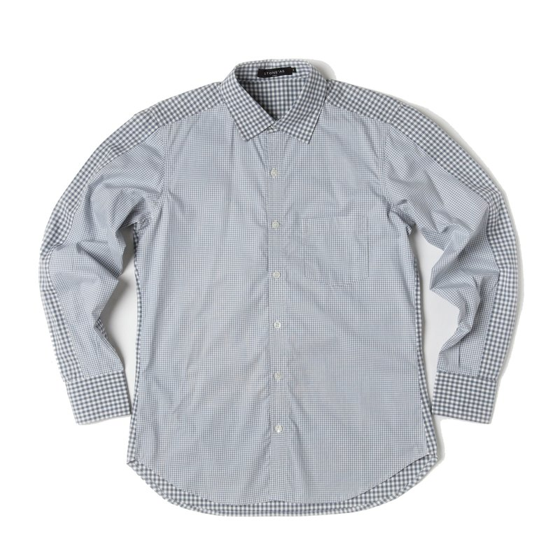 Stone'As Check Shirt / splice plaid shirt