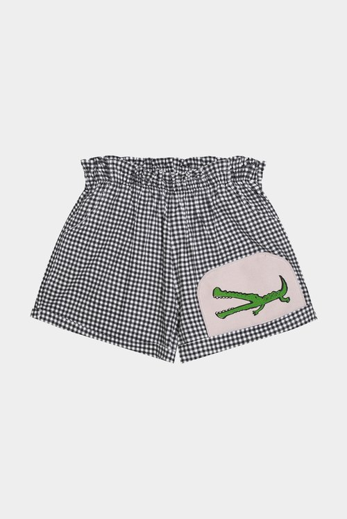 [Limited] a small crocodile difficulty / plaid patchwork high waist slacks