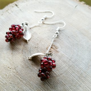 Garnet grapes long earrings