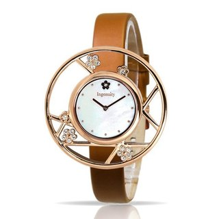 Classic female table / rose gold plum elegant watch - gold sand brown