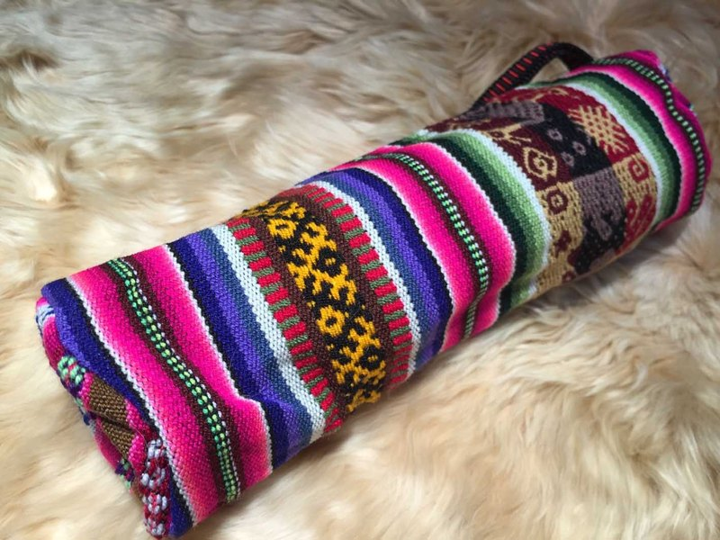 Peruvian weaving colorful cylindrical pencil purse