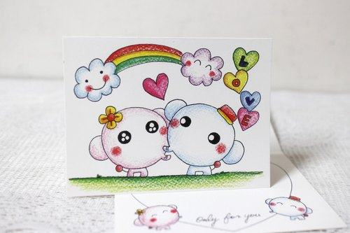 Illustration big card _ birthday card / million card / lover card (elephant couple)