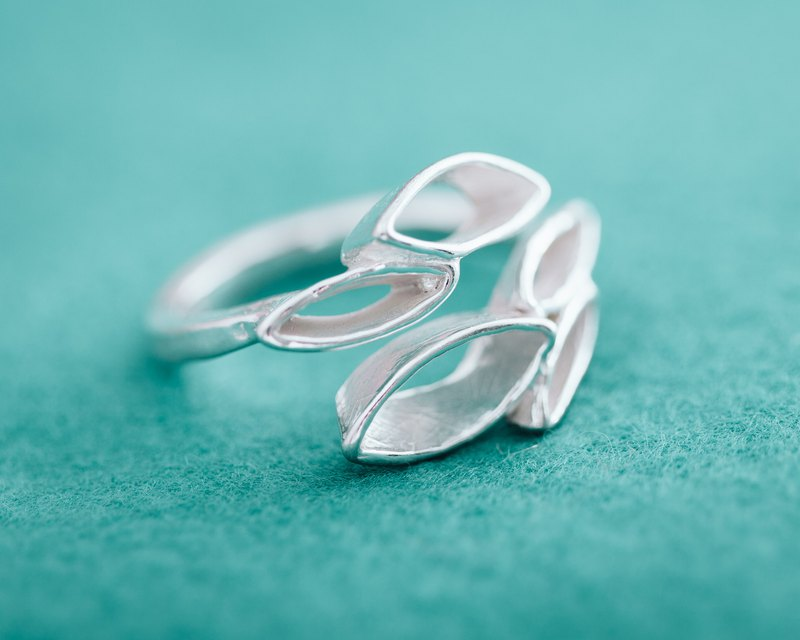 School of Fish - Silver ring - Japanese abstract design - Handmade adjustable ring - Free size ring