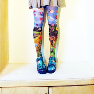 O+S=Circle Rain Double-sided Printed Tights donuts lollipop Blue sky grass cute