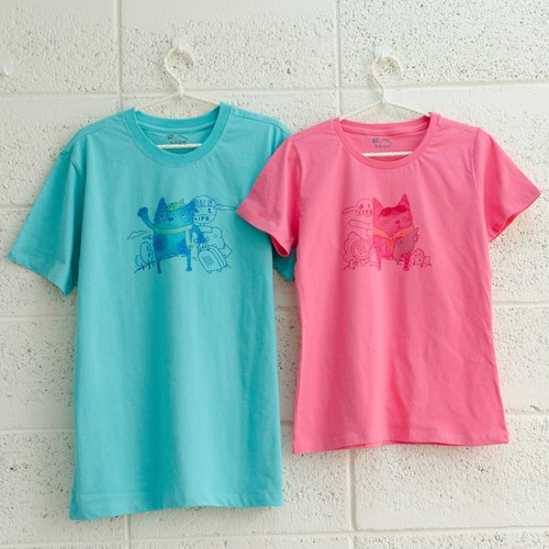 [Cat travel to meet you] lovers / short sleeve T-shirt