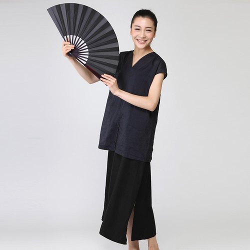 BUFU Chinese-style ramie non-sleeves top   CUT-SEW150408