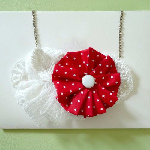 Red wave point lace fabric flower necklace can be customized Family fitted []