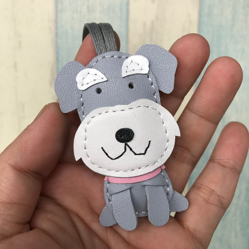 Leatherprince Handmade Leather Taiwan MIT Grey/White Cute Schnauzer Hand-sewn Leather Charm Small size small size