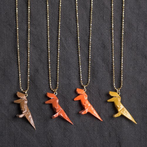 \ Mini Tyrannosaurus / origami necklace _ brown / red brown / light orange / yellowish brown