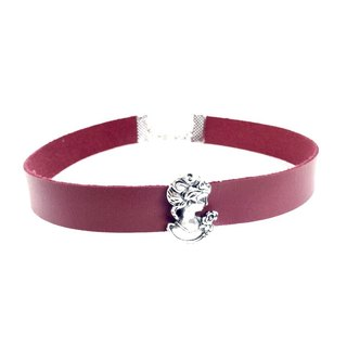 """Royal Silver Queen - crimson Wide Leather Necklace"""