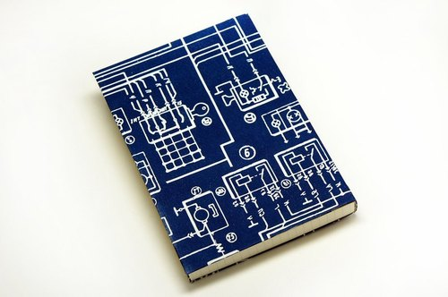 Handmade cyanotype notebook - Ocean circuits