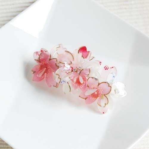 Sakura soft, three-dimensional cherry, automatic folder, hairpin - white