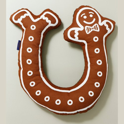Limited ◎ ◎ Christmas Gingerbread Man] [bent manually serigraphy pillow / headrest / neck pillow containing core