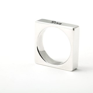 Customized Ring Cute Plate - Square Ring Name English Text Ring 925 Sterling Silver