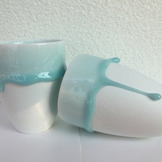 Midsummer Gifts To Marry To Cup - Melted Baby Blue - Ceramic Coffee Mug 2 Pieces In Combination - 300ml Large