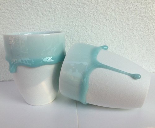 "Blessing series ""melt in baby blue - ceramic coffee cup combination"" (large) into 2 groups"