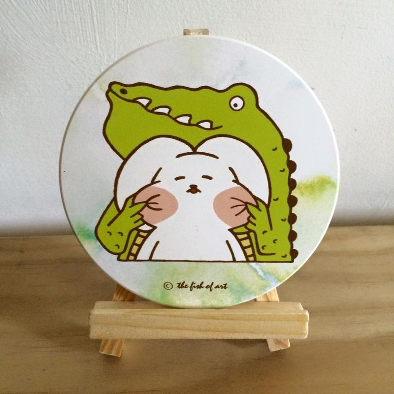 Pinched face illustration ceramic water coaster - A0015