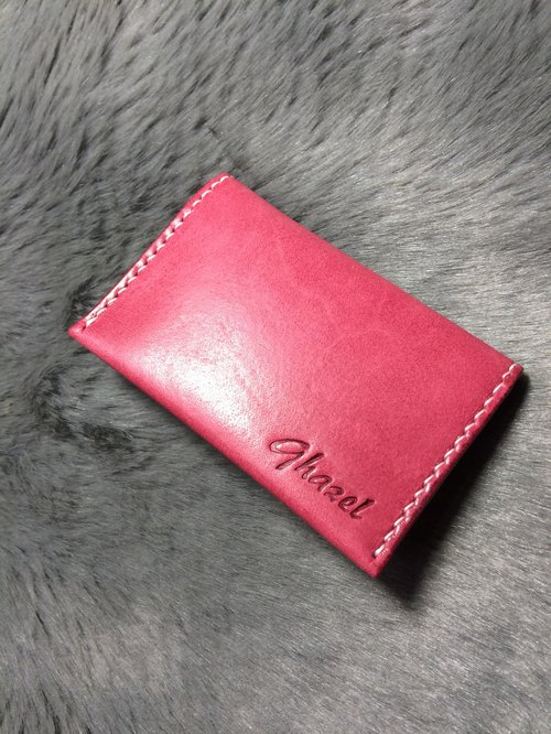 Rever leather hand-stitched leather card package card sets of Italian vegetable tanned leather pink four card slots can hold 4-8 cards can be customized Keke name