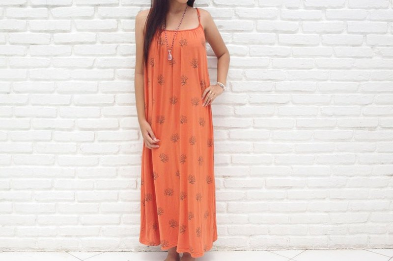 2015 New! Coral print camisole long dress <Orange>