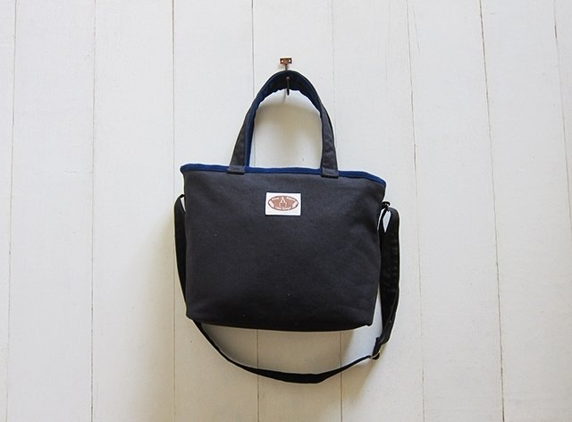 Macaron series - Black + Navy sails Bu Tuote medium-sized package (zipper opening paragraph + adjustable long strap)