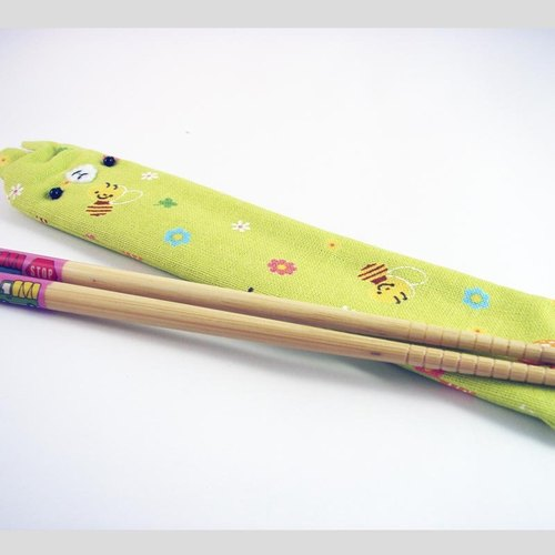 "Cheerful. Hand sewing Limited ""portable chopsticks sets / chopsticks / chopsticks / cutlery"" Bee Green"
