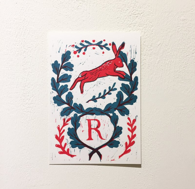"""R is for Rabbit"" handmade printed postcard - rabbit (abc letters postcards)"