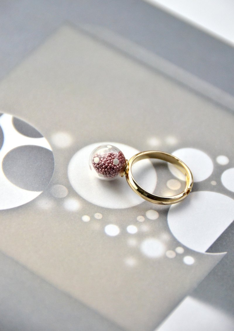 AMATO - Valentines Edition - matallic dark pink polka dots glass bubble ring