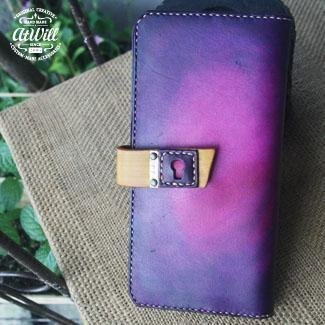 "atwill ~ ""heart has a door"" Hand native brush color cow leather clinch + exclusive personal lettering leather multifunction long wallet □ ■ □ ■ yellow purple pink x"