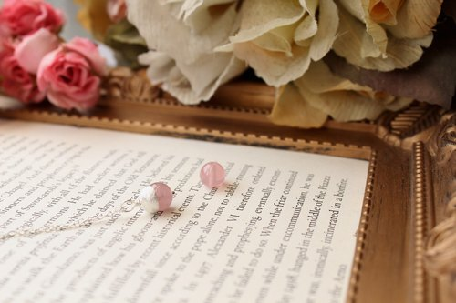 Journal result (Pink Love) / Madagascar rose quartz ice plants, sterling silver necklaces