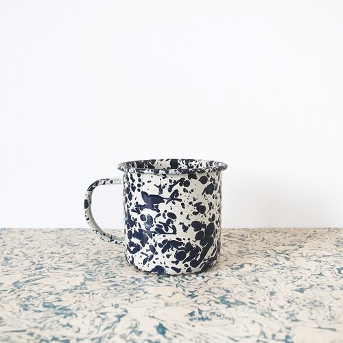 Enamel mug - navy blue with creamy white marbling
