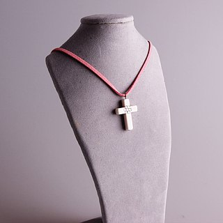 Big Cross Necklace Sparkle Colored Stone Faux Suede Leather Chain