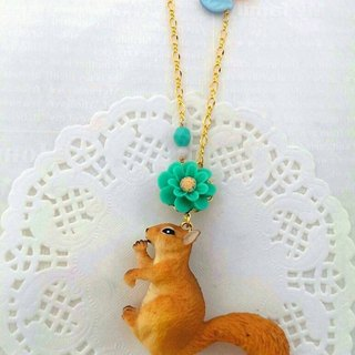 Forest animal friends a long chain - squirrel coming! (Anti-allergy necklace)