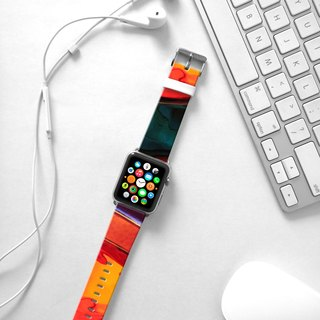 Apple Watch Series 1 , Series 2, Series 3 - Waterpaint abstract color Orange Watch Strap Band for Apple Watch / Apple Watch Sport - 38 mm / 42 mm avilable