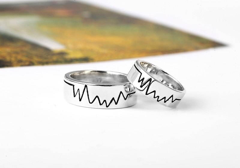Custom Rings Touches My Hearts Cardiograms Electrocardiogram Silver Rings -64DESIGN