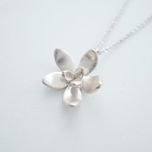 Cattleya Orchid handmade silver necklace