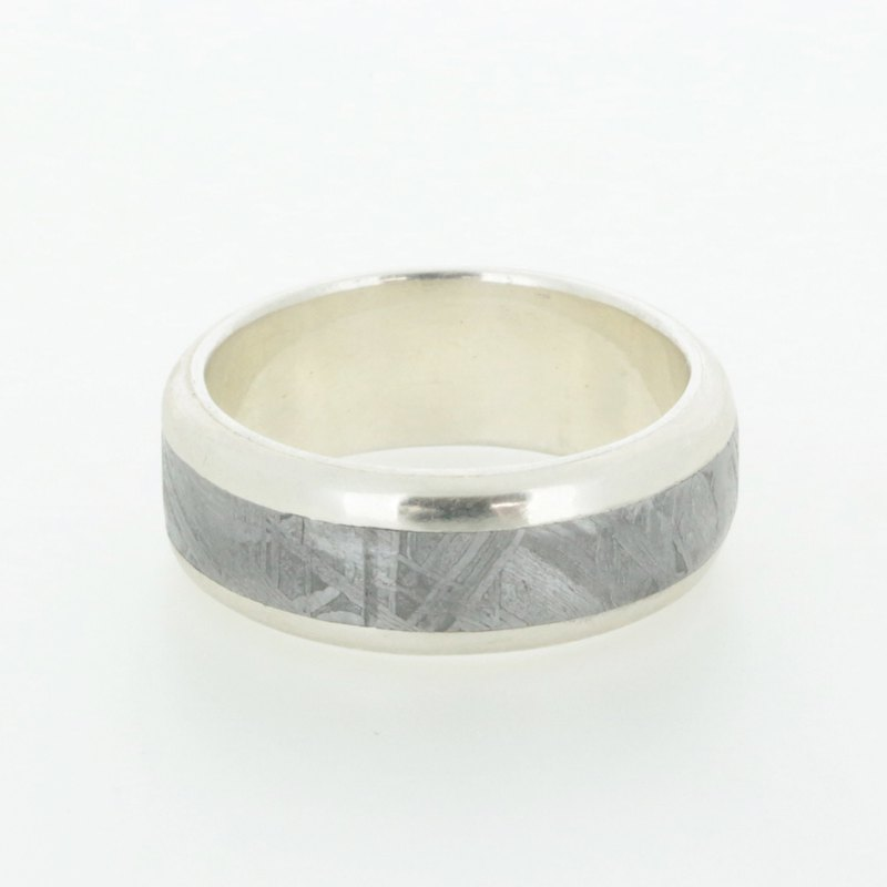 Meteorite Jewelry - Modern Round-Edge Sterling Silver Meteorite Wedding Band Ring