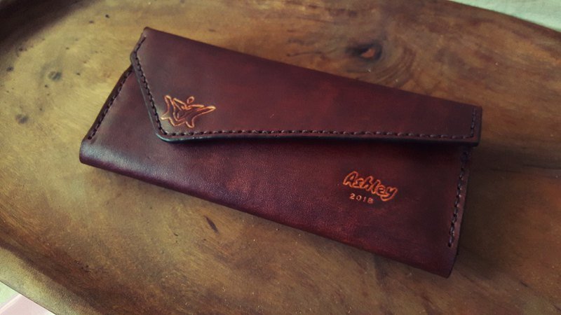 Personalized coke brown pure leather wallet - (custom lover, birthday gift)