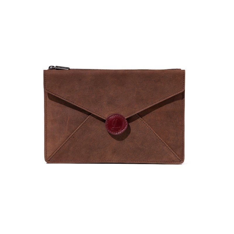 Envelope dark coffee leather envelope clutch housing