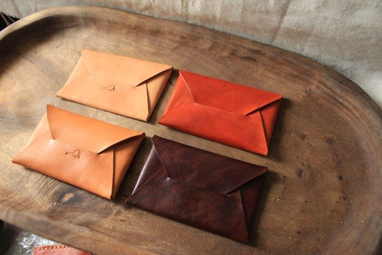 Possession smile pure leather envelope card holder - four colors - can lettering