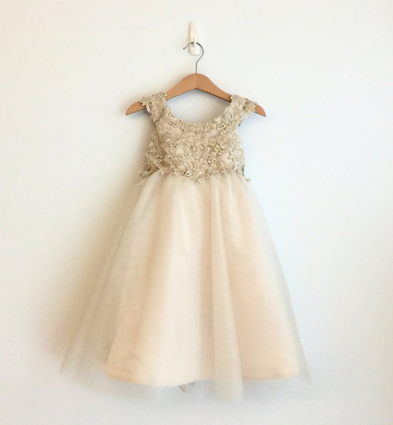Champagne Empire Waist Dress with Lace