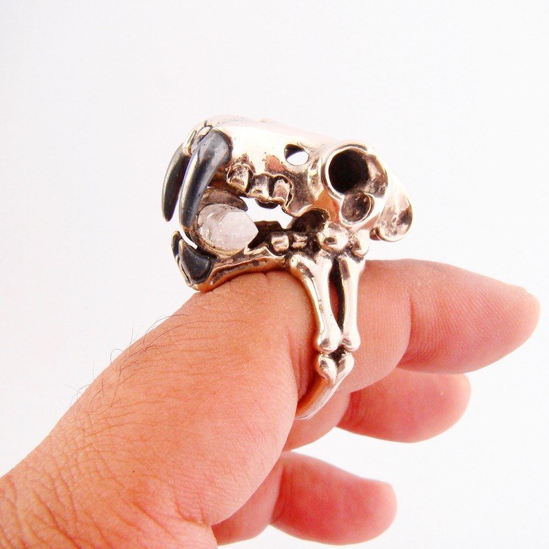 White bronze Saber tooth skull ring with clear quartz stone and oxidized antique color
