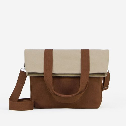 Small EASE Fold-over Messenger Bag in Water-resistant Canvas/in 8 colors