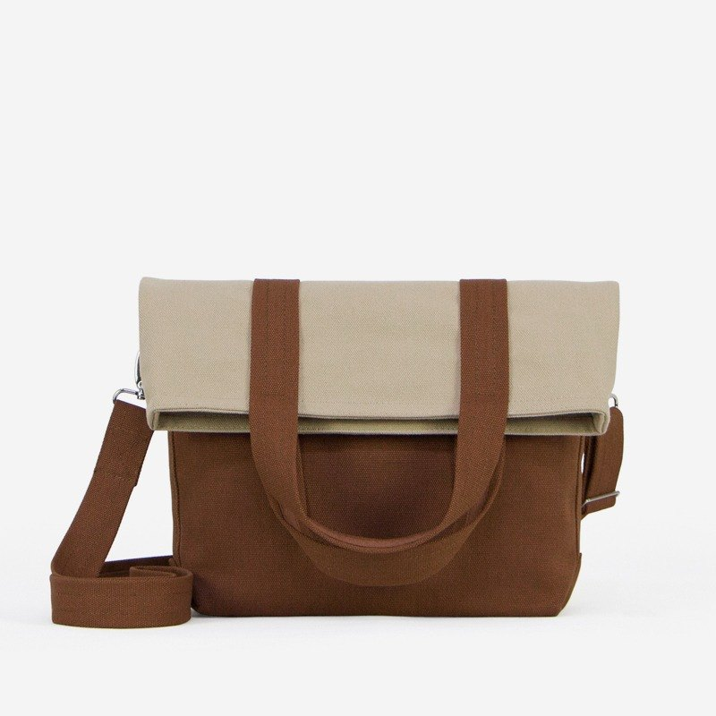 Small Fold-over Messenger Bag in Canvas/Crossbody Carry/Available in 8 colors