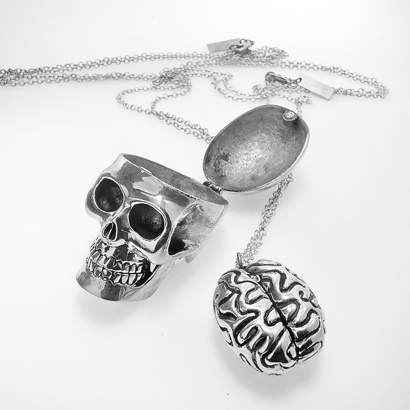 Skull and brain  in white bronze and oxidized antique color ,Rocker jewelry ,Skull jewelry,Biker jewelry