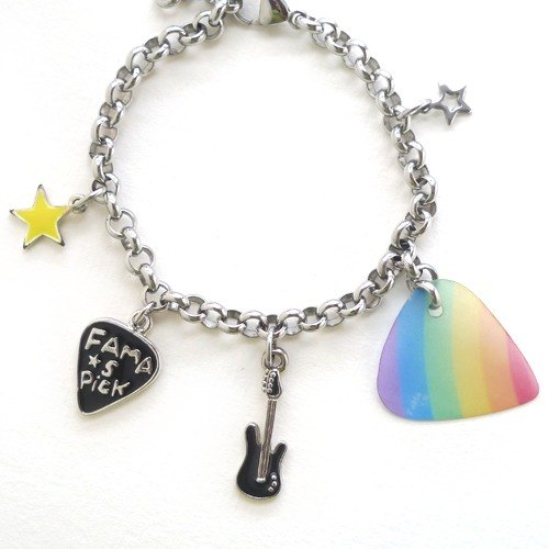 FaMa‧s Pick Guitar Shrapnel - Small Lucky der Stainless Steel Bracelet