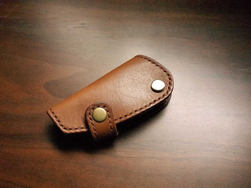 Fully stitched leather VESPA locomotive key pack - brown