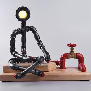 【Carpenter】 retro industrial wind study bedroom coffee shop creative decorative pipe robot lamp