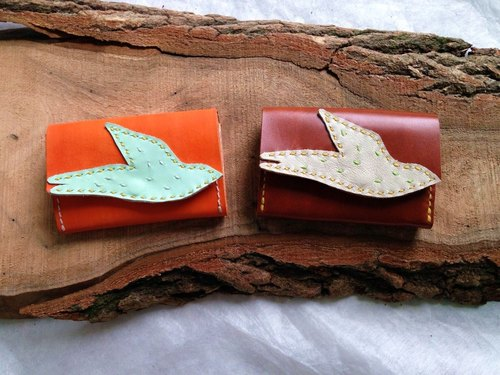 Swallow muttered hand-sewn leather wallet _